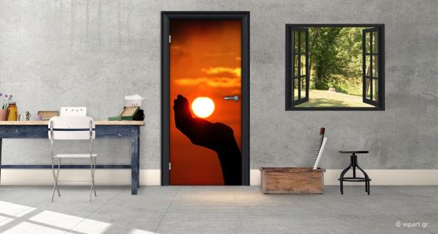 """Αυτοκόλλητο Πόρτας """"Ηλιοβασίλεμα"""""""