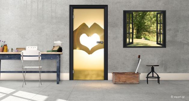 """Αυτοκόλλητο Πόρτας """"Καρδιά"""""""