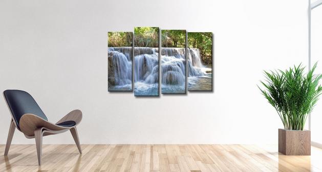 Καμβάς Τετράπτυχος Nature Waterfall