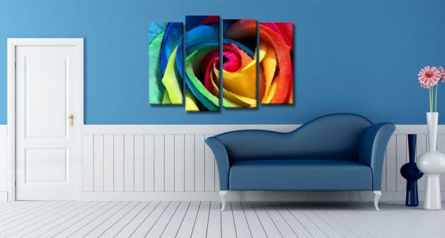 Καμβάς Τετράπτυχος Colored Rose