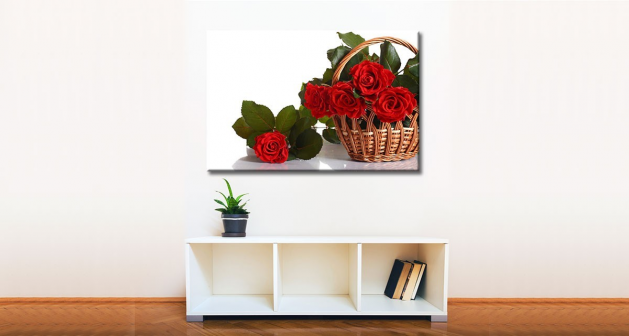 Καμβάς Kαλάθι Κόκκινα Τριαντάφυλλα