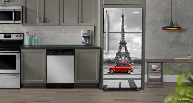 """Αυτοκόλλητο Ψυγείου """"Paris Red Car"""""""
