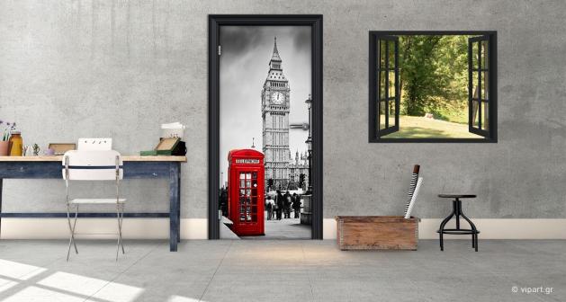 """Αυτοκόλλητο Πόρτας """"London Black&White Red"""""""