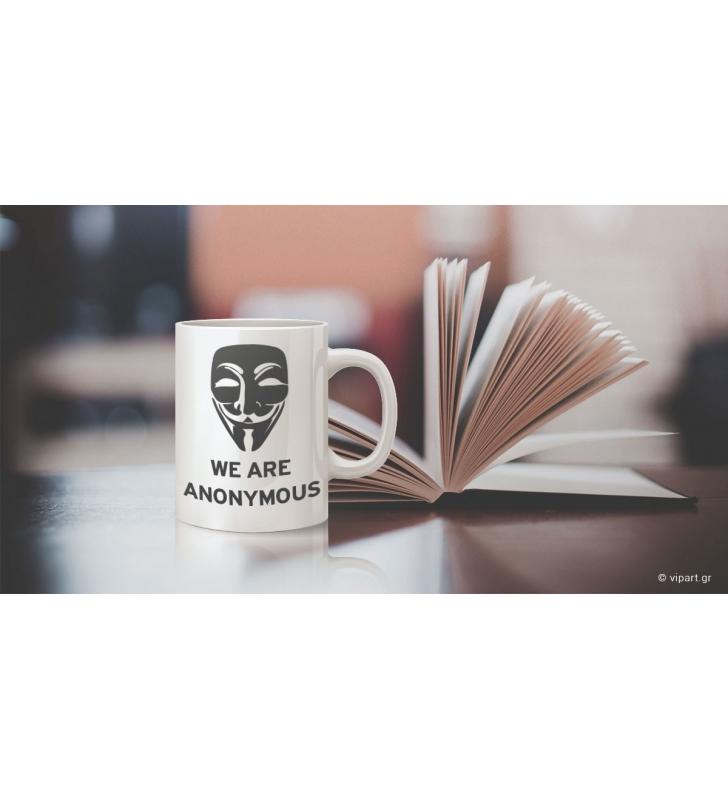 """Εκτύπωση σε κούπα """"we are anonymous"""""""