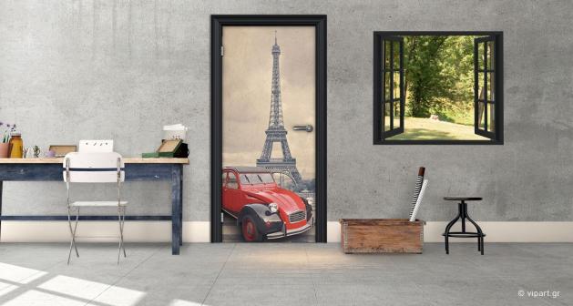 """Αυτοκόλλητο Πόρτας """"Παρίσι Κόκκινο Αμάξι"""""""