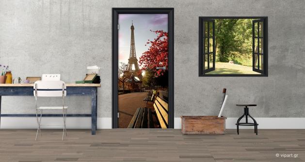 """Αυτοκόλλητο Πόρτας """"Παγκάκια Παρίσι"""""""