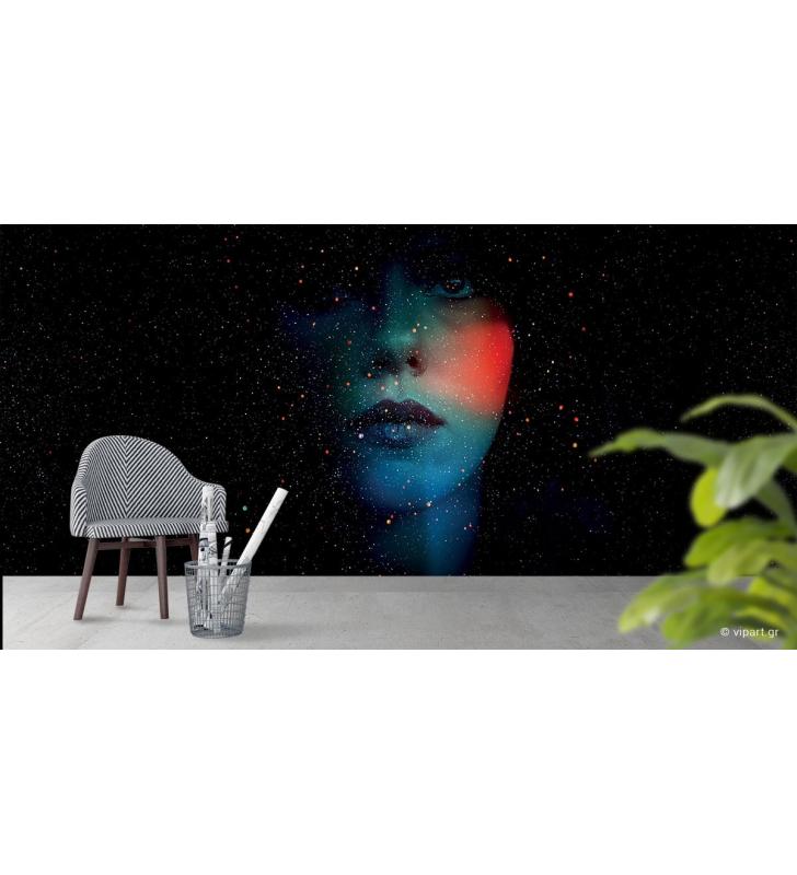 Ταπετσαρία Τοίχου Galaxy Girl Abstract Face
