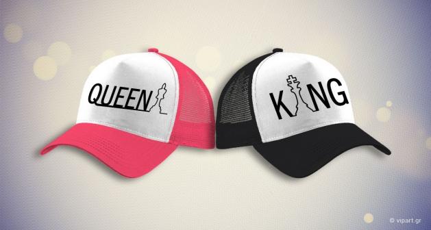 """ΠΡΟΣΦΟΡΑ Εκτύπωση σε καπέλο """"King & Queen"""""""