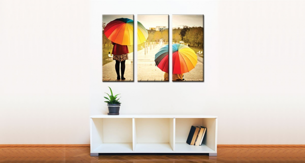 Καμβάς Τρίπτυχος Πολύχρωμες Ομπρέλες