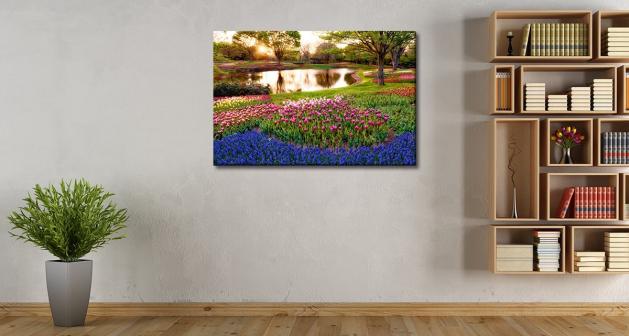 Καμβάς Πολύχρωμα Λουλούδια Ρυάκι