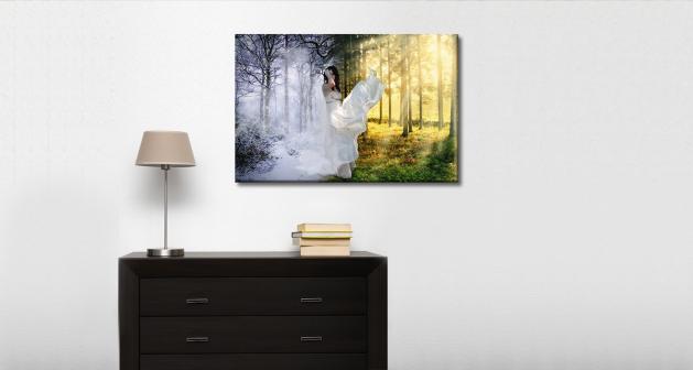 Καμβάς Δάσος Χιονισμένο Ήλιος Γυναίκα