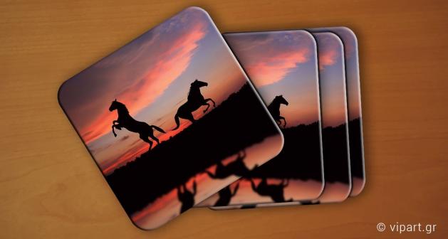 Σουβερ 6 τεμάχια Horses Sunset