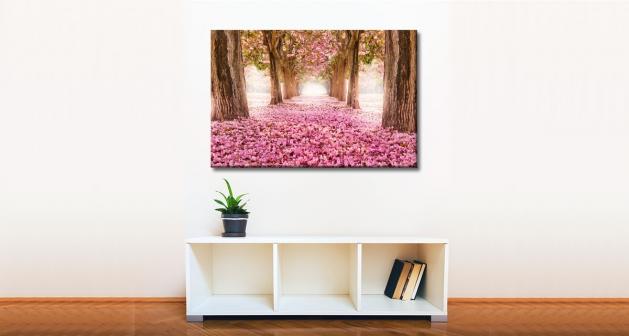 Καμβάς Δάσος ρόζ φύλλα