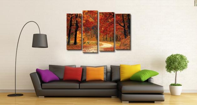 Πίνακας Καμβάς Τετράπτυχος Πορτοκαλί δάσος