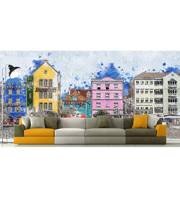 Ταπετσαρία Τοίχου Ζωγραφική κτίρια - βάρκες