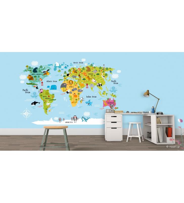 Παιδική Ταπετσαρία Τοίχου εκπαιδευτικός Παγκόσμιος χάρτης με ζώα