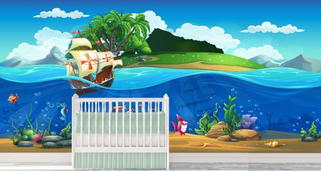 Παιδική Ταπετσαρία Τοίχου Βυθός - ψάρια - καράβι - νησί