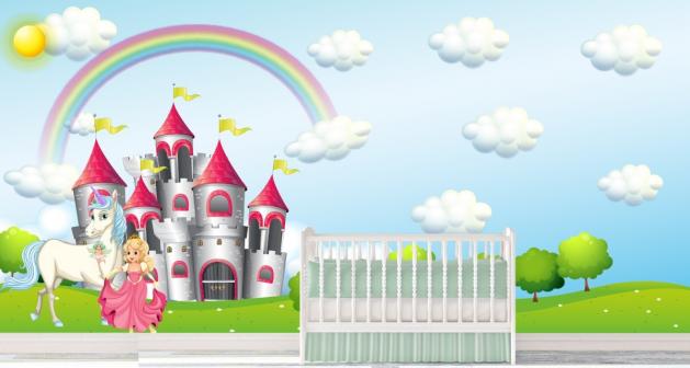 d6e03569b7e Παιδική Ταπετσαρία Τοίχου για κορίτσια πριγκίπησα - κάστρο -ουράνιο τόξο -  πόνι