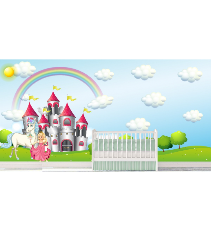 Παιδική Ταπετσαρία Τοίχου για κορίτσια πριγκίπησα - κάστρο -ουράνιο τόξο - πόνι