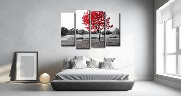 Καμβάς Τετράπτυχος Κόκκινο Δέντρο Θάλασσα - Παγκάκι