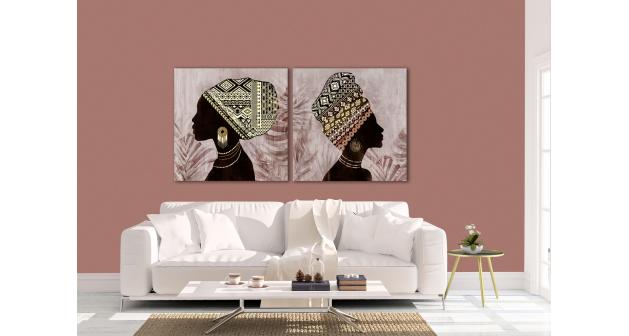 Σύνθεση Με Πίνακες Καμβάδες 60x60 - 2 Τεμάχια - African Women brown