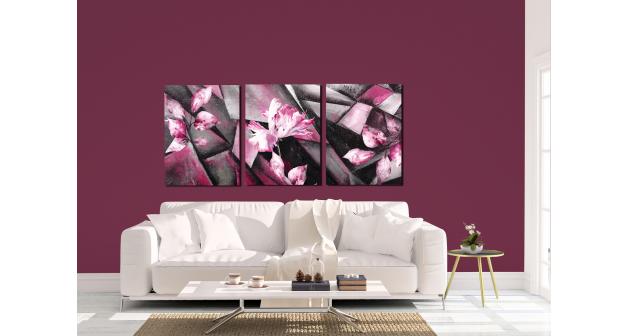 Σύνθεση Με Πίνακες Καμβάδες 30x40 - 3 Τεμάχια - Λουλούδια - Purple Flower