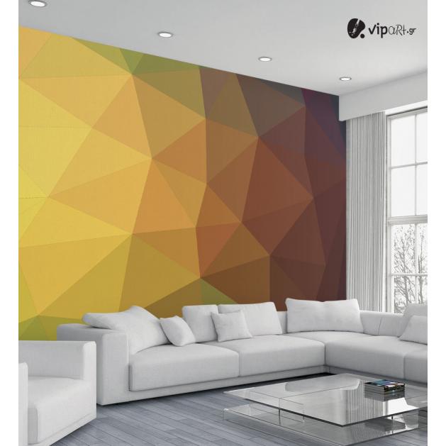 Ταπετσαρία Τοίχου Πολύγωνα Καφέ - Κίτρινο