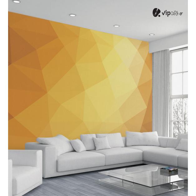 Αυτοκόλλητη Ταπετσαρία Τοίχου Πολύγωνα Χρυσό - Καφέ με εκτύπωση
