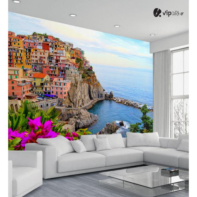 Ταπετσαρία Τοίχου Θέα με πολύχρωμα σπίτια χτισμένα σε βουνό
