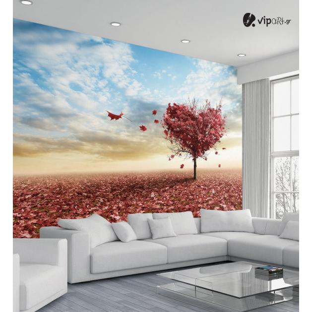Ταπετσαρία Τοίχου με εκτύπωση Ροζ-Φούξια Δέντρο Φθινόπωρο