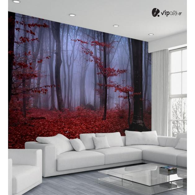 Ταπετσαρία Τοίχου με εκτύπωση Κόκκινο Δάσος Red Forest