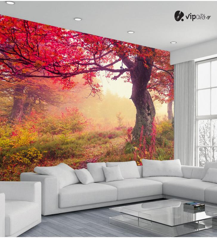 Ταπετσαρία Τοίχου Φθινόπωρο μεγάλο δέντρο - Autumn Big Tree