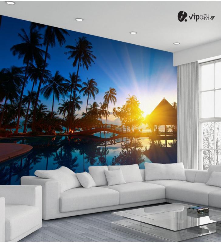 Ταπετσαρία Τοίχου Φοίνικες & Ηλιοβασίλεμα - Palm trees & Sunset