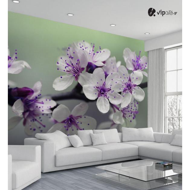 Ταπετσαρία Τοίχου Μωβ λουλούδια - Purple Flowers