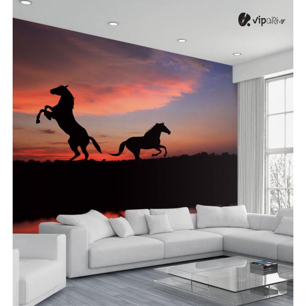 Ταπετσαρία Τοίχου άλογα ηλιοβασίλεμα Horses Sunset