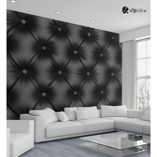Ταπετσαρία Τοίχου μαύρο δέρμα Leather Lux