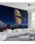 Ταπετσαρία Τοίχου Τοπίο Νερό Διαστημόπλοιο Πλανήτη Οροσειρά
