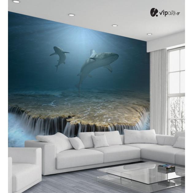 Ταπετσαρία Τοίχου 3d καρχαρίες θάλλασα