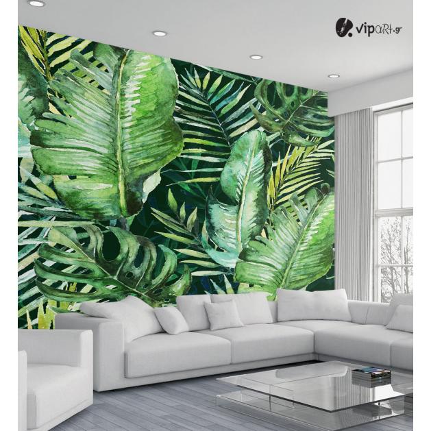 Αυτοκόλλητη Ταπετσαρία Τοίχου Green tropical palm - Πράσινα Φύλλα