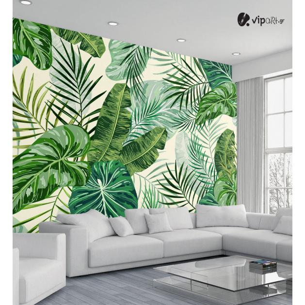 Αυτοκόλλητη Ταπετσαρία Τοίχου Διάφορα Πράσινα Τροπικά Φύλλα