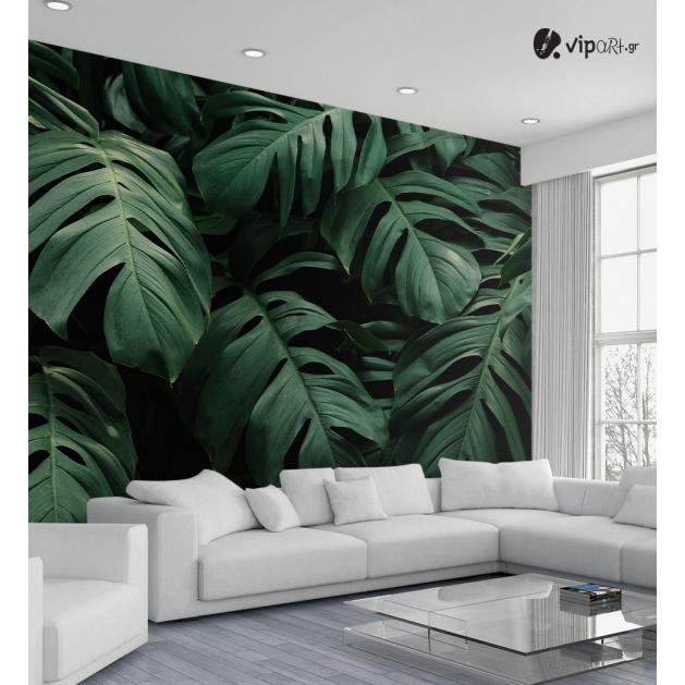 Αυτοκόλλητη Ταπετσαρία Τοίχου Τροπικά Πράσινα Φύλλα με Μαύρο Φόντο