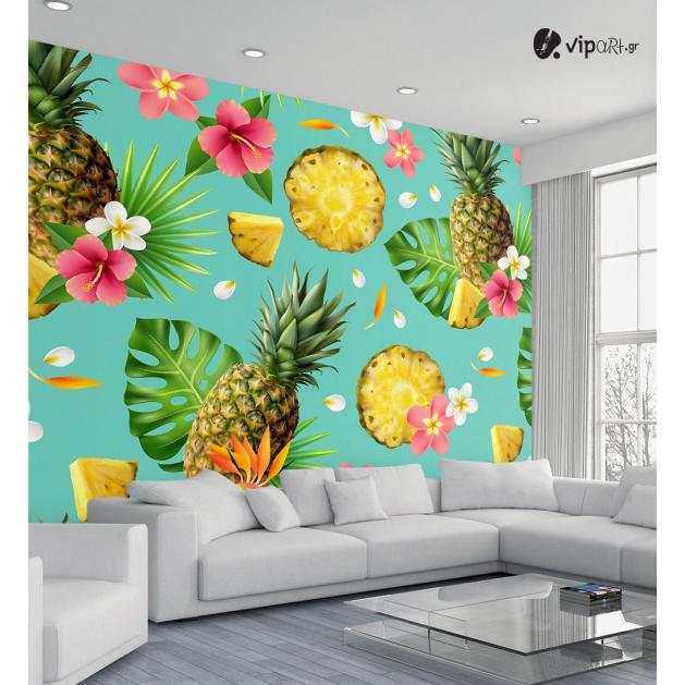 Αυτοκόλλητη Ταπετσαρία Τοίχου Τροπικά Φύλλα Λουλούδια - Ανανάς