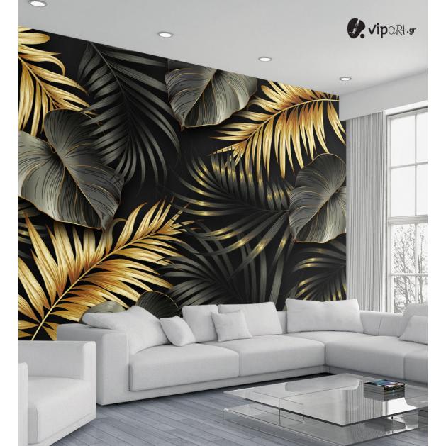Αυτοκόλλητη Ταπετσαρία Τοίχου Τροπικά Φύλλα Χρυσά - Μαύρα