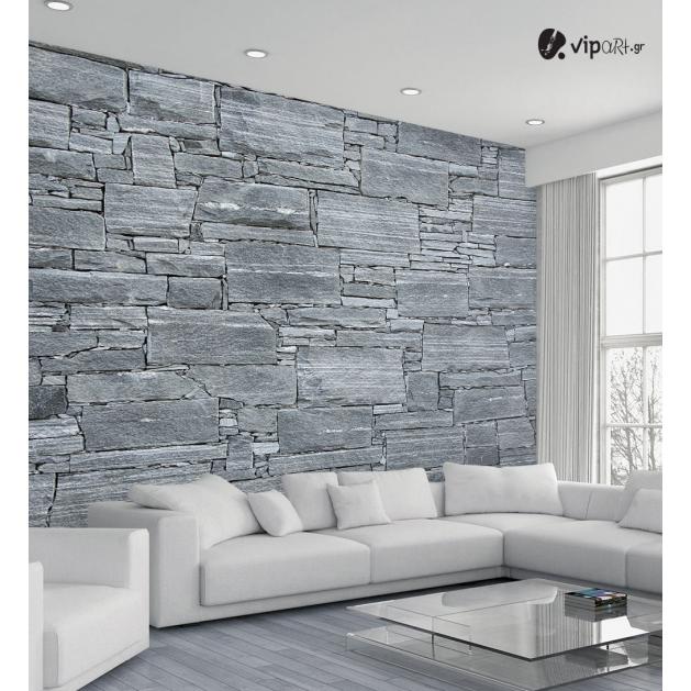 Αυτοκόλλητη Ταπετσαρία Τοίχου τοίχος με Γκρί Πέτρες 3d