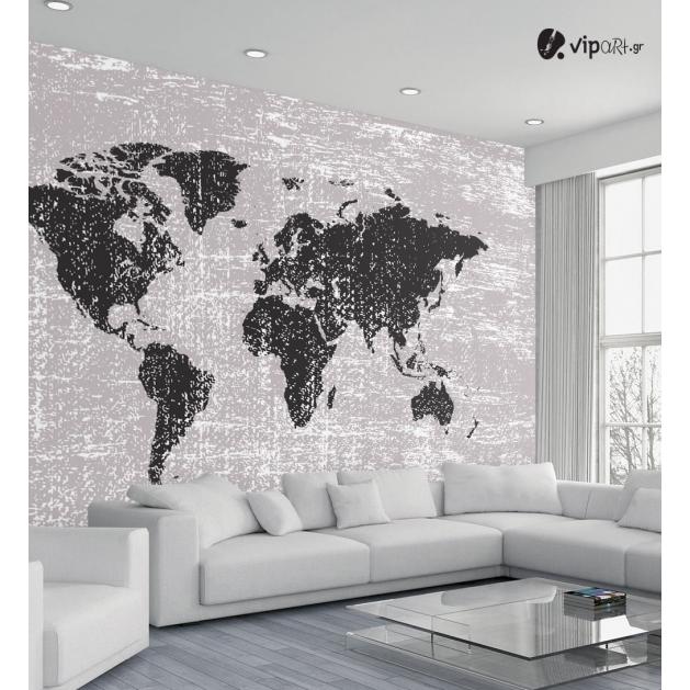Αυτοκόλλητη Ταπετσαρία Τοίχου Παγκόσμιος Xάρτης με καφέ αποχρώσεις