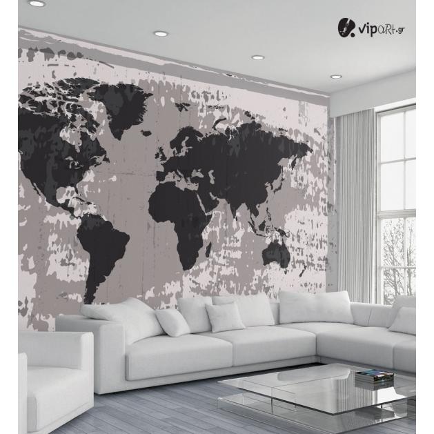 Αυτοκόλλητη Ταπετσαρία Τοίχου Παγκόσμιος Xάρτης με γκρί αποχρώσεις