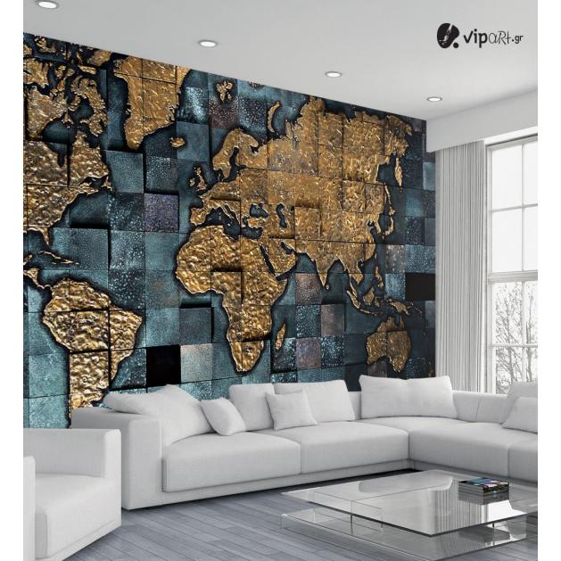 Αυτοκόλλητη Ταπετσαρία Τοίχου Παγκόσμιος Χάρτης - World Map Gold