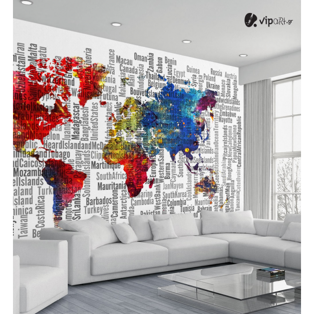 Αυτοκόλλητη Ταπετσαρία Τοίχου Πολύχρωμος Παγκόσμιος Χάρτης - World Map