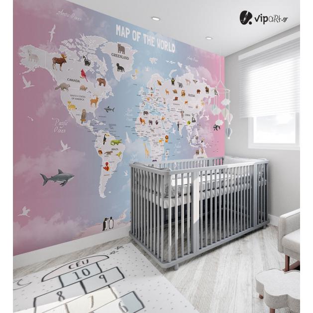 Αυτοκόλλητη Ταπετσαρία Τοίχου για Παιδικό Δωμάτιο εκπαιδευτικός Παγκόσμιος χάρτης με ζώα