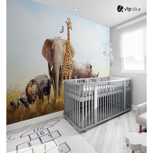 Αυτοκόλλητη Ταπετσαρία Τοίχου για Παιδικό Δωμάτιο με ζώα